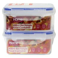 See more information about the 2 Pack 400ml Rectangle Food Containers