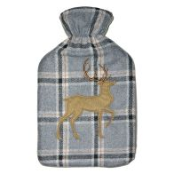 See more information about the 2 Litre Tartan Hot Water Bottle Grey Standing Stag