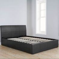 See more information about the Ascot Black Faux Leather End Lift Ottoman King Size 5ft Bed Frame
