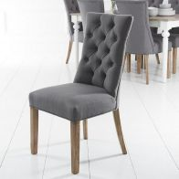 See more information about the Lancelot Curved Button-Back Chair - Grey