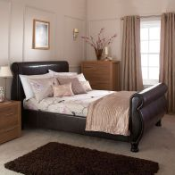 See more information about the Chicago Faux Leather Double Bed 4ft 6in Brown Bedstead