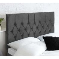 See more information about the Catherine Lansfield Boutique Grey 5ft King Size Bed Headboard