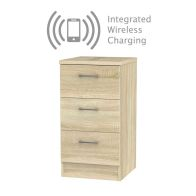 See more information about the Elmsett 3 Drawer Wireless Charging Bedside Cabinet Light Brown