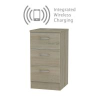 See more information about the Elmsett 3 Drawer Wireless Charging Bedroom Bedside Cabinet Brown