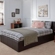 See more information about the PU Leather Double Bed 4ft 6in Brown Ottoman Bed Frame