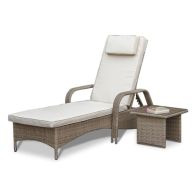 See more information about the Tuscany Florida Garden Sunlounger & Coffee Table Brown