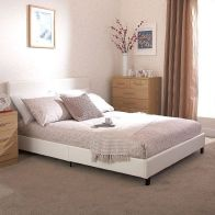 See more information about the Bed In A Box White Faux Leather Double 4ft 6in Bedstead