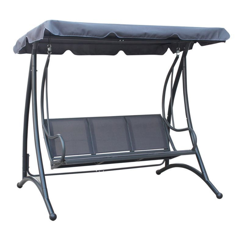 3 Seater Swing Seat Garden Patio Hammock U0026 Canopy   Grey