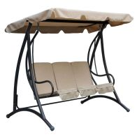 See more information about the Premium 3 Seater Garden Swing Seat with Beige Canopy