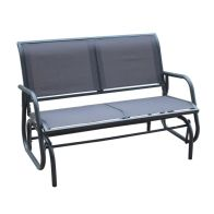 See more information about the 2 Seater Glider Rocking Garden Patio Bench With Mesh Seat - Grey