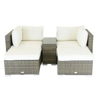 See more information about the Rattan Multi-use 2-3 Seater Garden Love Seat with Footstools Natural