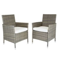 See more information about the Verona Pair Of Rattan Dining Chairs Garden Furniture - Brown