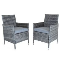 See more information about the Napoli Pair Of Rattan Dining Chairs Garden Furniture - Grey