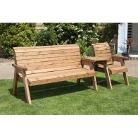 See more information about the 4 Seat Straight Tete-a-tete Companion Love Seat Garden Bench & Table