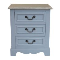 See more information about the 3 Drawer Loxley Vintage Solid Wood Bedside Table Cabinet - Grey