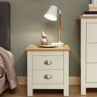 See more information about the Lancaster 2 Drawer Bedside Table Cream