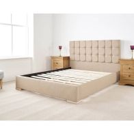 See more information about the Banks Upholstered Pine Brown 4ft 6in Double Bed Frame