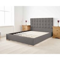See more information about the Banks Upholstered Pine Grey 4ft 6in Double Bed Frame