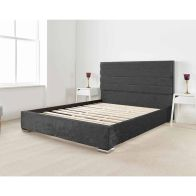See more information about the Lanata Upholstered Pine Black 4ft 6in Double Bed Frame