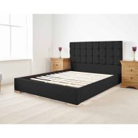 See more information about the Banks Upholstered Pine Black 4ft 6in Double Bed Frame