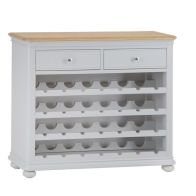 See more information about the Mulbarton Light Oak 2 Drawer Wine Cabinet Grey