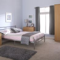 See more information about the Morgan Steel Double Bed 4ft 6in Silver Bedstead