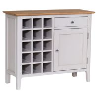 See more information about the Necton Oak 1 Door 1 Drawer Wine Cabinet Grey