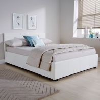 See more information about the Faux Leather Double Bed 4ft 6in White Ottoman Bed Frame