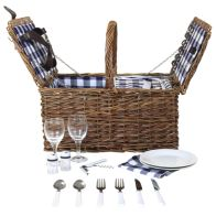 See more information about the 2 Person Traditional Checked Lining Wicker Picnic Basket With Cutlery