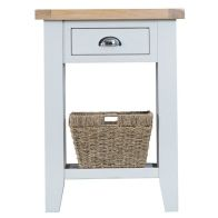 See more information about the Lighthouse Oak Top 1 Drawer Telephone Table White